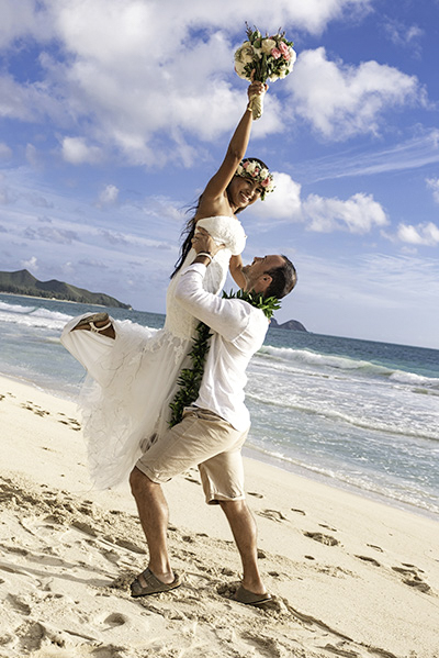 Waimanalo Bay Wedding Couple Bouquet Island Ocean Beach